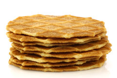 Freshly baked stacked Dutch waffles Stock Images