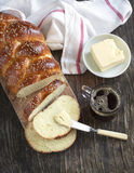 Freshly baked sweet braided bread loaf Stock Image