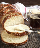 Freshly baked sweet braided bread loaf Stock Photos