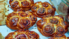 Freshly baked sweet buns or bread rolls with black sweet poppy as best thing for breakfast and tea or coffee time stock photos