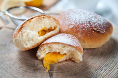 Freshly baked sweet buns with jam Stock Photos