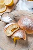 Freshly baked sweet buns with jam Royalty Free Stock Photo