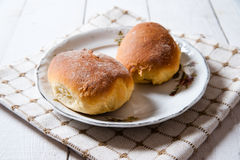 Freshly baked sweet buns with jam Stock Photos