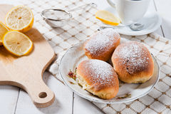 Freshly baked sweet buns with jam Royalty Free Stock Images