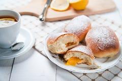 Freshly baked sweet buns with jam Stock Photo