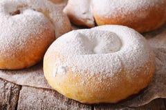 Freshly baked sweet rolls ensaimadas close-up on the table. hori Stock Photos