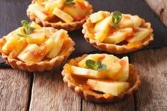Freshly baked Tart with pineapple, jam and mint close-up. horizo Royalty Free Stock Photos