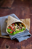 Freshly baked tortilla wrap with cucumbers Royalty Free Stock Photos