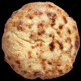 Freshly Baked Traditional, Aromatc Tender Leavened Pitta Flatbread Loaf Isolated On Black Background. Freshly baked, delicious, aromatic, traditional domestic Royalty Free Stock Photo