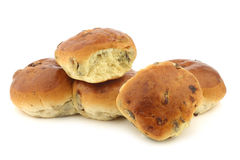 Freshly baked traditional dutch raisin buns Stock Images