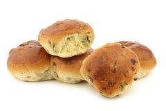 Freshly baked traditional dutch raisin buns Stock Images
