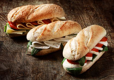 Freshly baked vegetarian baguettes in a bakery Royalty Free Stock Photography