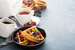 Freshly baked waffles with berries for breakfast Royalty Free Stock Photos