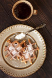 Freshly baked waffles and coffee cup Royalty Free Stock Photos
