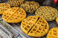 Freshly baked waffles in the market. Freshly baked waffles for sale in local market Stock Images