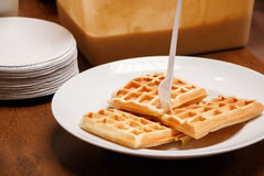 Freshly baked waffles. On a white plate Stock Photo
