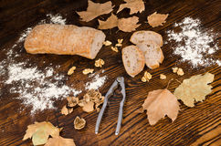 Freshly baked walnut bread of autumn Royalty Free Stock Images