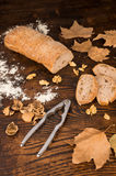 Freshly baked walnut bread and ingredients Stock Images