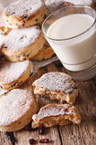 Freshly baked Welsh cakes with raisins and milk close-up. vertic Stock Photography