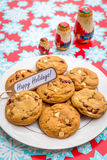 Freshly baked white chocolate and cranberry cookies. Stock Photo