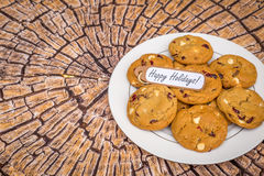 Freshly baked white chocolate and cranberry cookies. Royalty Free Stock Image