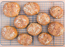 Freshly baked the whole grain bread rolls. Royalty Free Stock Photography