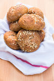 Freshly baked the whole grain bread roolls. Royalty Free Stock Photography
