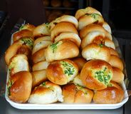 Freshly Bakes Buns with Chives Stock Photography