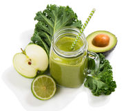 Freshly blended green smoothie. Royalty Free Stock Photo