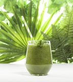 Freshly blended green smoothie in a glass with straw. Green leaves background. Freshly blended green smoothie in glass with straw on green leaves background Royalty Free Stock Photos