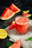 Freshly blended Watermelon smoothie with lemon and mint. Stock Images