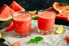 Freshly blended Watermelon smoothie with lemon and mint. Royalty Free Stock Photos