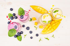 Freshly blended yellow and violet  fruit smoothie in glass jars with straw, mint leaves, mango slices, berry, top view. Soft white wooden board background Stock Images
