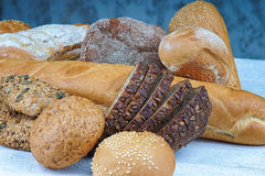 Freshly bread buns and bakery products stock photos
