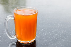 Freshly brewed black tea in glass mug, popularly known as Teh O in Malaysia.  Royalty Free Stock Image