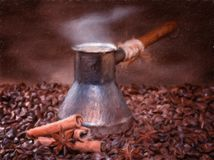 Freshly brewed coffee with cinnamon and anise. Oil painting effect royalty free illustration