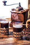 Freshly brewed coffee in the old style Royalty Free Stock Photography