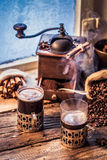 Freshly brewed coffee in the old style Royalty Free Stock Image
