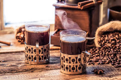 Freshly brewed coffee in the old style Stock Images