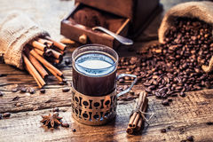 Freshly brewed coffee with the scent of cinnamon Royalty Free Stock Photography