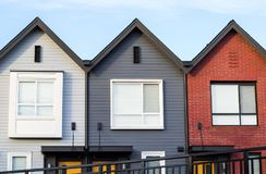 Freshly build townhomes in beautifull row. Freshly build townhomes beautifull row Stock Photo