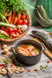 Freshly caught fish and vegetables for soup ingredients Stock Image