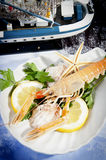 Freshly caught shrimp with lemon Royalty Free Stock Image