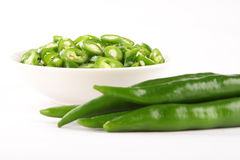 Freshly chopped pepper  with raw pepper, Royalty Free Stock Photo