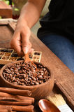 Freshly coffee beans in  bowl Royalty Free Stock Photography