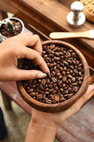 Freshly coffee beans in  bowl Royalty Free Stock Images