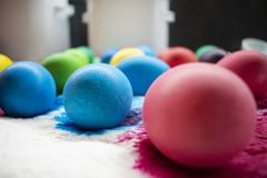 Freshly colored Easter eggs on paper napkin. royalty free stock photography