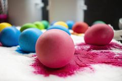 Freshly colored Easter eggs on paper napkin. royalty free stock photo