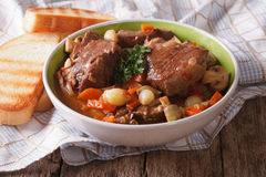 Freshly cooked Beef Bourguignon close up in a bowl. horizontal Stock Photography