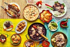 Freshly cooked feast of Brazilian dishes Stock Image